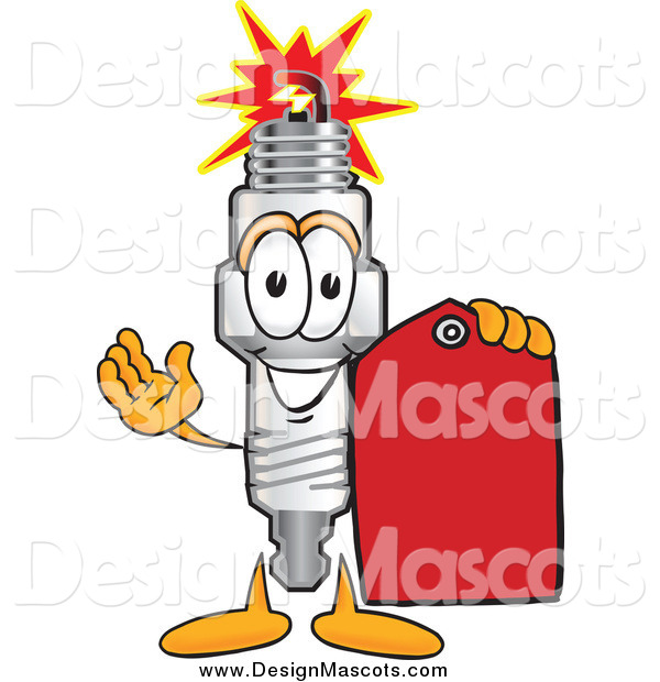 Illustration of a Spark Plug Mascot Holding a Price Tag