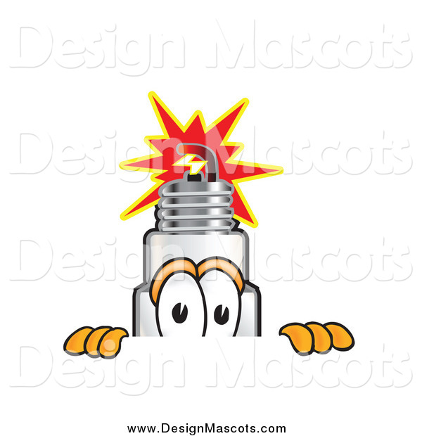 Illustration of a Spark Plug Mascot Looking over a Surface