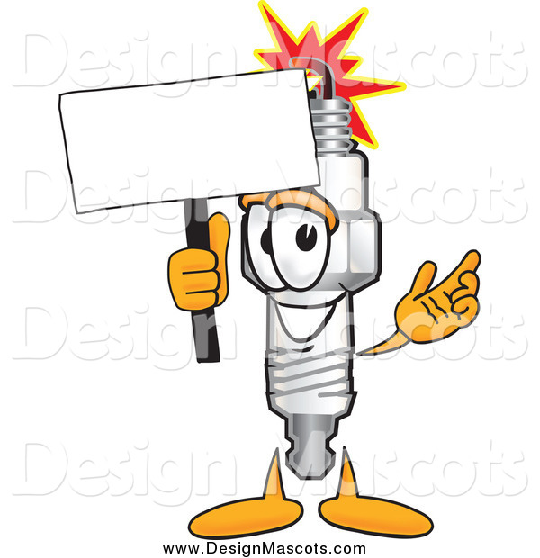 Illustration of a Spark Plug Mascot with a Blank White Sign