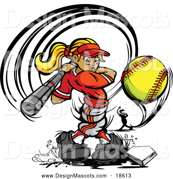 Illustration of a Strong Female Baseball Player Mascot Swinging and Hitting a Softball