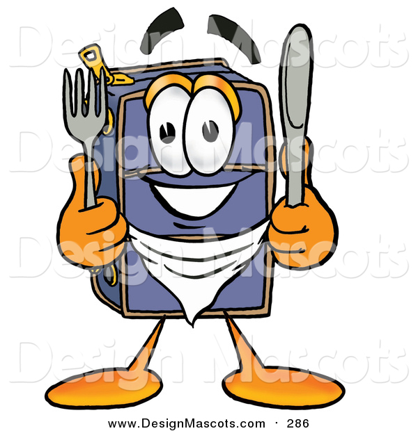 Illustration of a Suitcase Mascot Holding a Knife and Fork