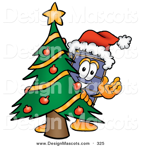 Illustration of a Suitcase Mascot Waving Around a Christmas Tree