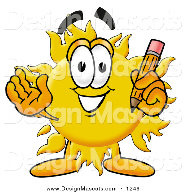 Illustration of a Sun Mascot Holding a Pencil