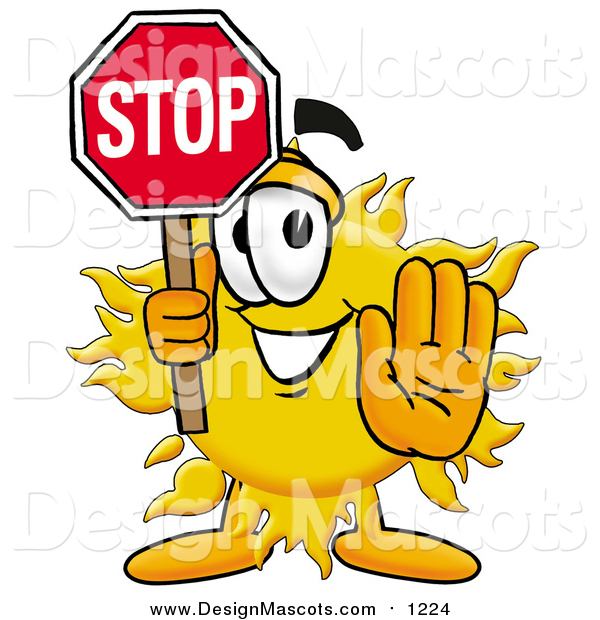 Illustration of a Sun Mascot Holding a Stop Sign