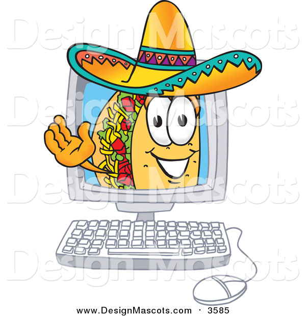 Illustration of a Taco Mascot Waving from Inside a Computer Screen