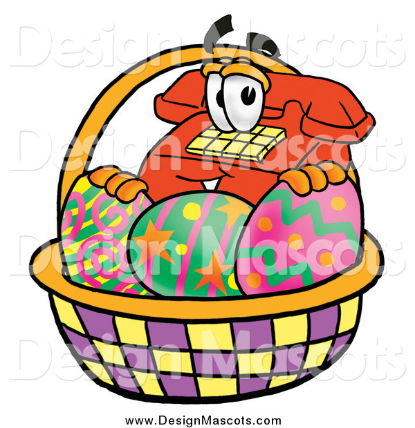 Illustration of a Telephone Mascot in an Easter Basket