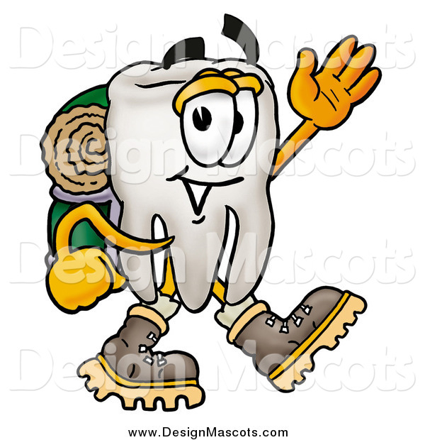 Illustration of a Tooth Mascot Hiking and Waving
