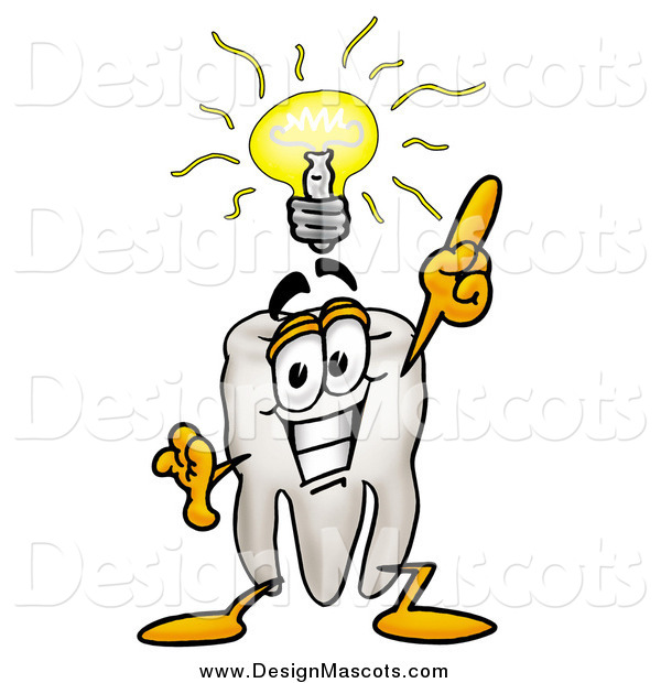 Illustration of a Tooth Mascot Holding up a Finger Under an Idea Bulb