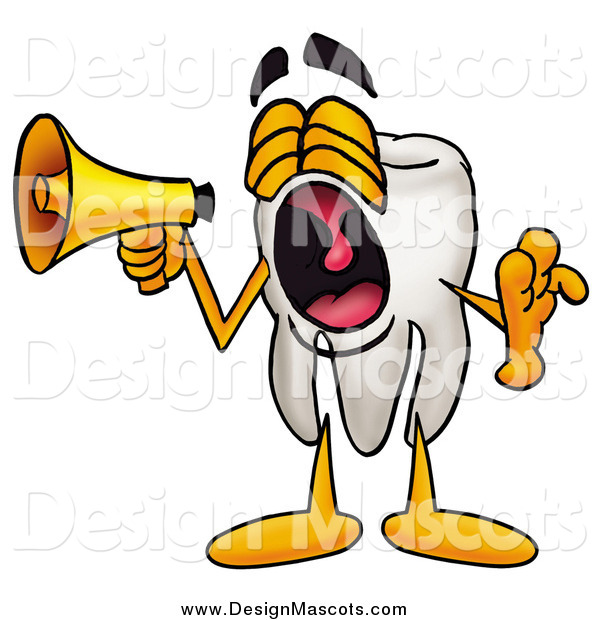 Illustration of a Tooth Mascot Screaming and Announcing with a Megaphone