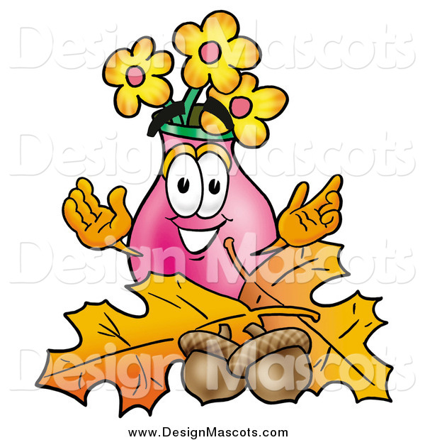 Illustration of a Vase of Flowers Mascot over Autumn Leaves