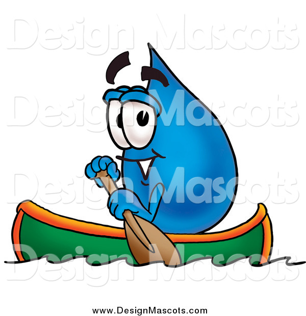 Illustration of a Water Drop Mascot Rowing a Boat