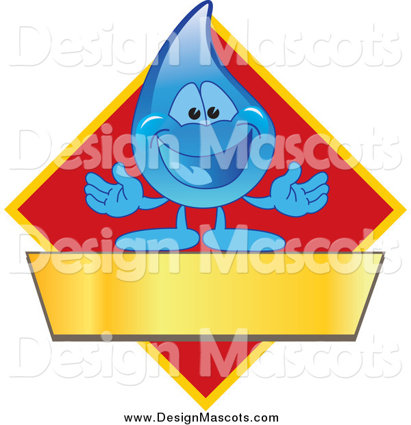 Illustration of a Water Droplet Mascot Welcoming on a Red Yellow and Gold Diamond with a Blank Banner