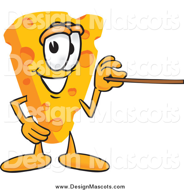 Illustration of a Wedge of Cheese Mascot Using a Pointer Stick and Pointing to the Right