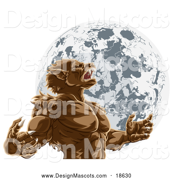 Illustration of a Werewolf Beast Mascot Howling and Transforming Against a Full Moon