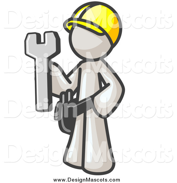 Illustration of a White Construction Worker Man Holding a Wrench