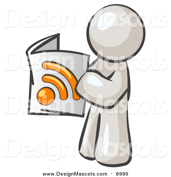 Illustration of a White Man Reading an RSS Magazine