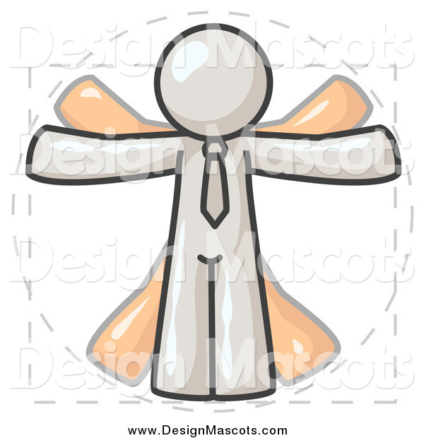 Illustration of a White Vitruvian Man and Orange Shadow