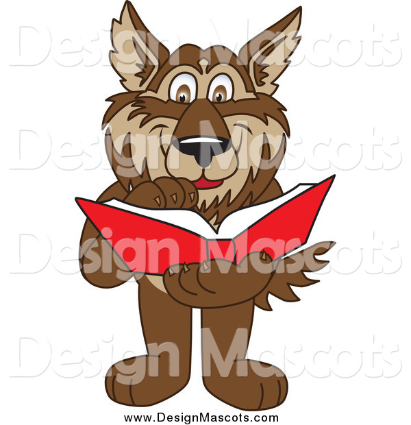 Illustration of a Wolf Mascot Reading a Book