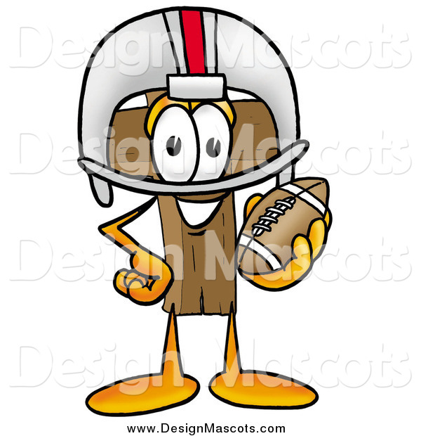 Illustration of a Wooden Christian Cross Mascot with Football Gear