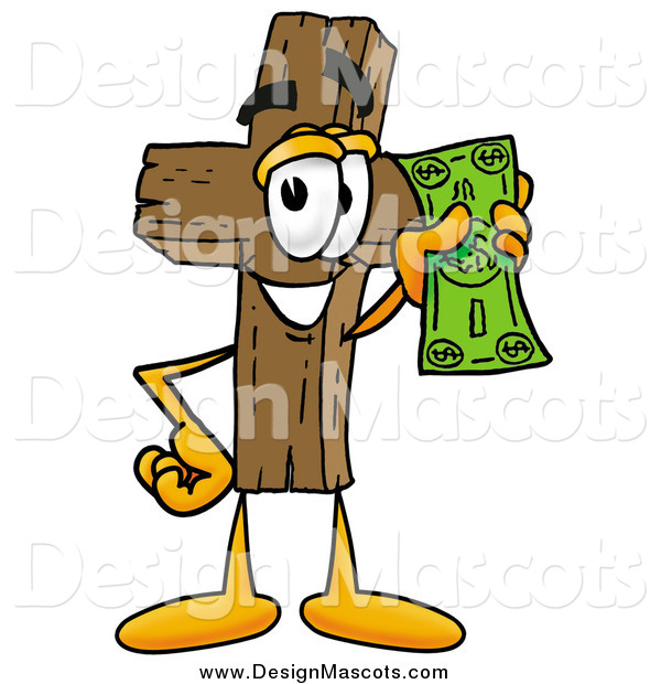 Illustration of a Wooden Cross Mascot Holding Cash