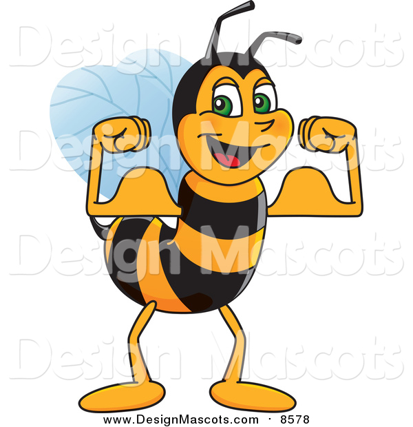 Illustration of a Worker Bee Mascot Flexing