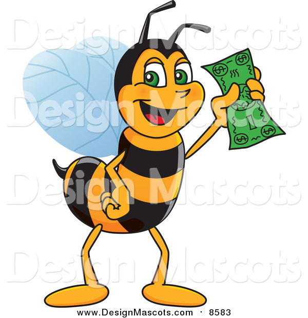 Illustration of a Worker Bee Mascot Holding Cash
