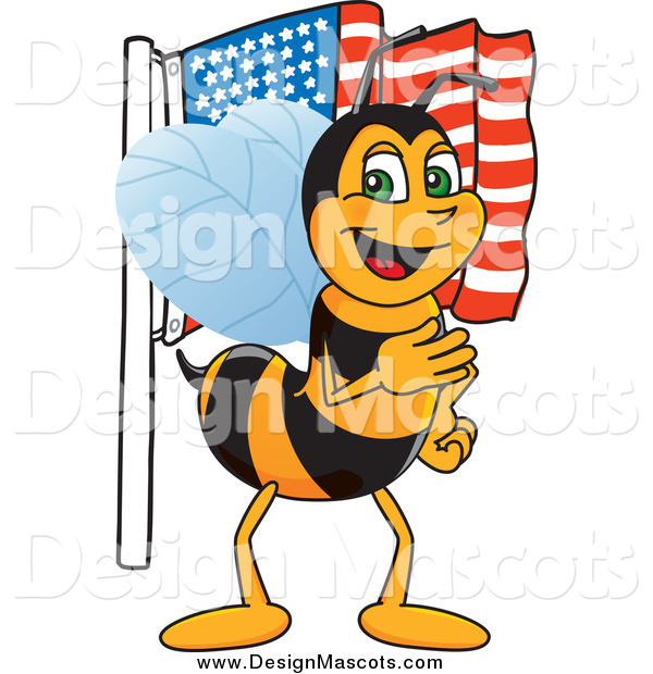 Illustration of a Worker Bee Mascot with an American Flag