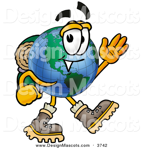 Illustration of a World Earth Globe Mascot Hiking and Waving