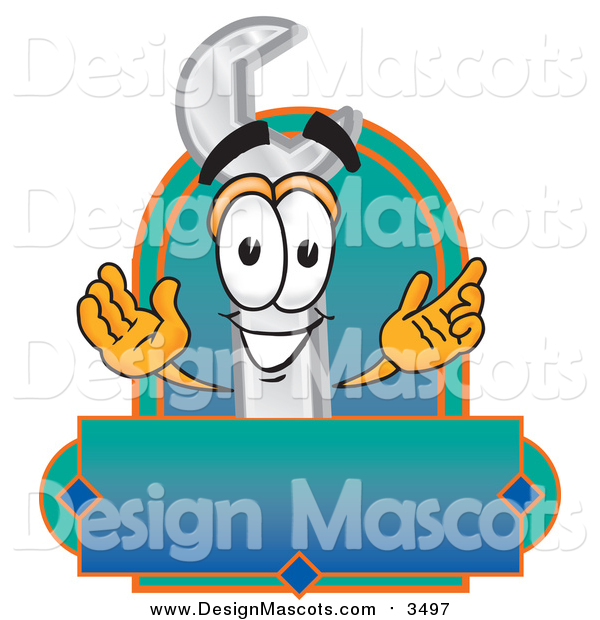 Illustration of a Wrench Mascot with a Blank Label