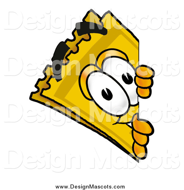 Illustration of a Yellow Admission Ticket Mascot Cartoon Character Looking Around a Corner