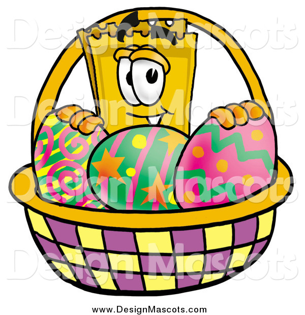 Illustration of a Yellow Admission Ticket Mascot with an Easter Basket