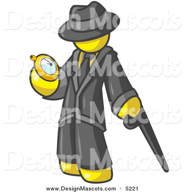 Illustration of a Yellow Business Man Checking His Pocket Watch