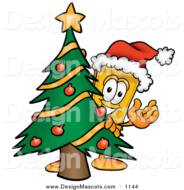 Illustration of a Yellow Ticket Mascot Cartoon Character Waving and Standing by a Decorated Christmas Tree