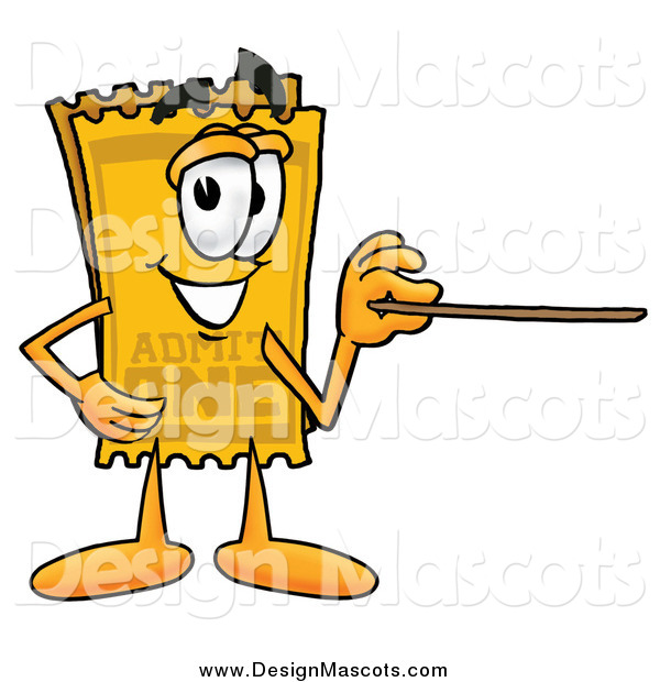 Illustration of a Yellow Ticket Mascot Holding a Pointer Stick