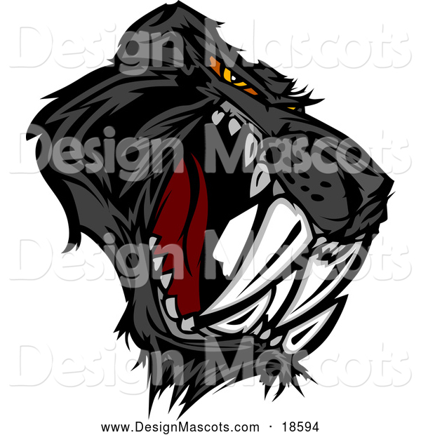 Illustration of an Aggressive Black Saber Toothed Panther Mascot