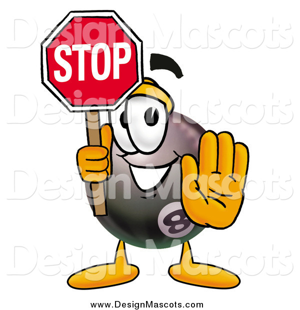 Illustration of an Eight Ball Mascot Holding a Stop Sign