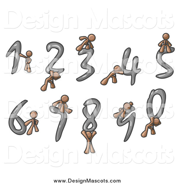 Illustration of Brown Men with Numbers