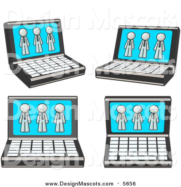 Illustration of Laptop Computers with White Men on Each Screen