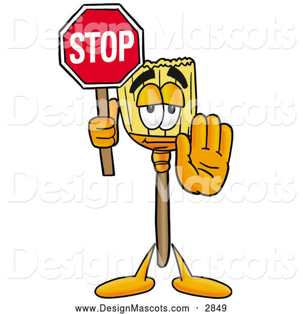 Stock Cartoon of a Broom Mascot Holding a Stop Sign
