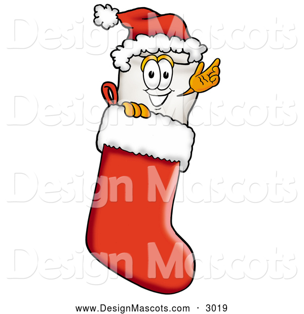 Stock Cartoon of a Tooth Mascot in a Christmas Stocking