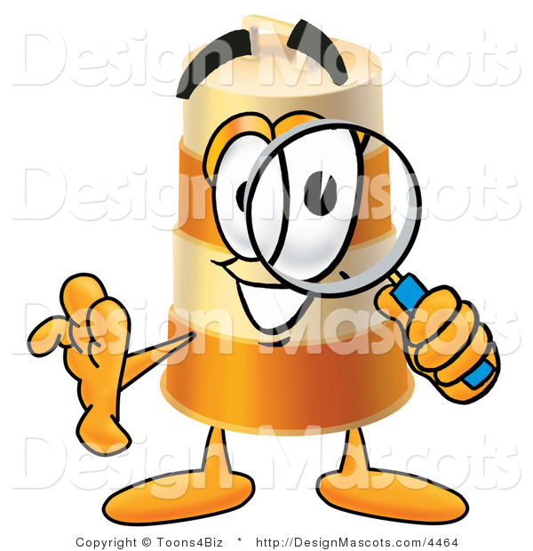 Stock Mascot Cartoon of a Barrel Mascot and Magnifying Glass