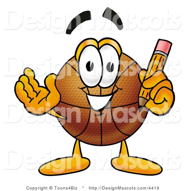 Stock Mascot Cartoon of a Basketball Mascot Holding a Pencil