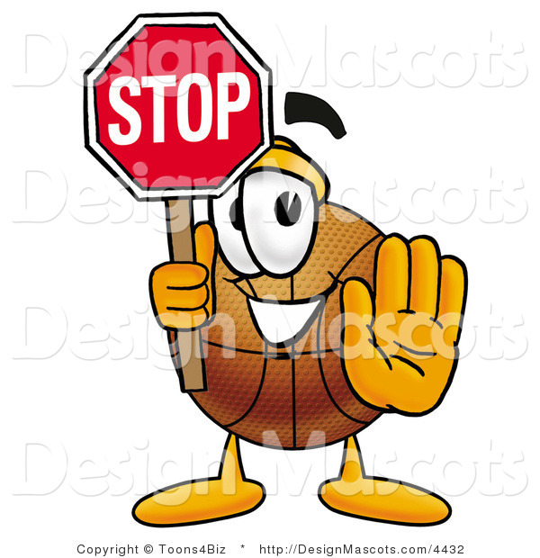 Stock Mascot Cartoon of a Basketball Mascot Holding a Stop Sign