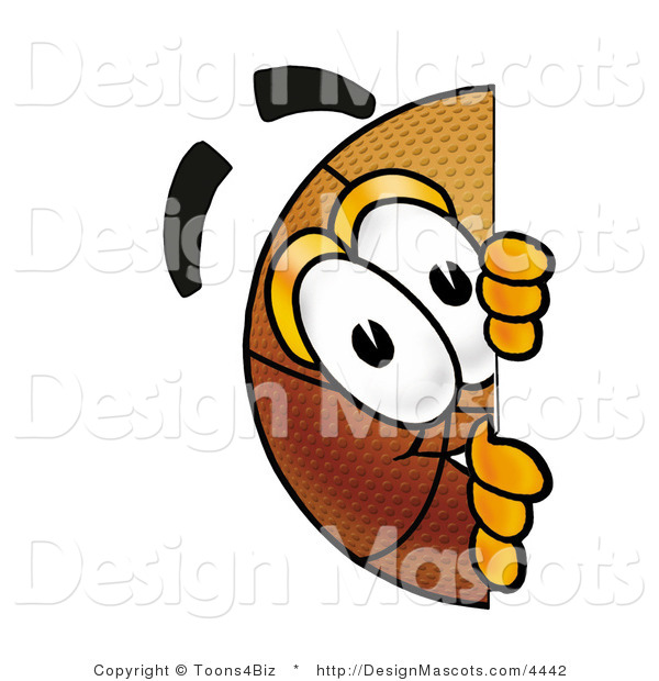 Stock Mascot Cartoon of a Basketball Mascot Peeking Around a Corner
