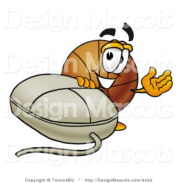 Stock Mascot Cartoon of a Basketball Mascot with a Computer Mouse