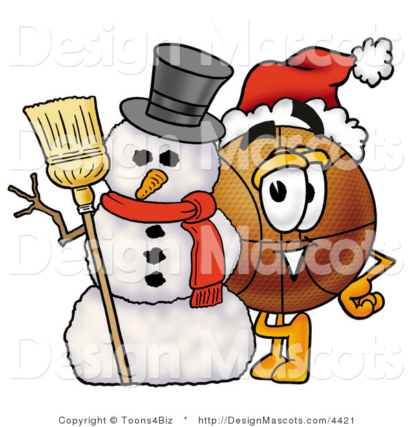 Stock Mascot Cartoon of a Basketball Mascot with a Snowman on Christmas