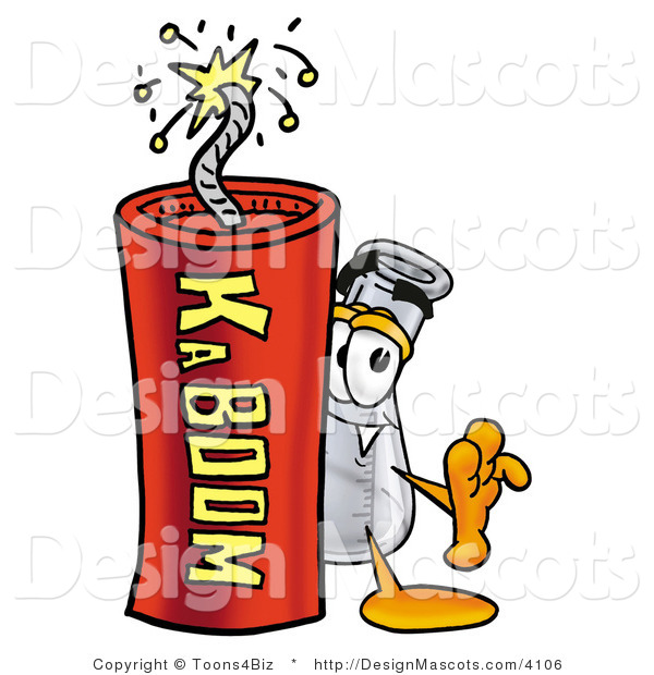 Stock Mascot Cartoon of a Beaker Mascot and Dynamite
