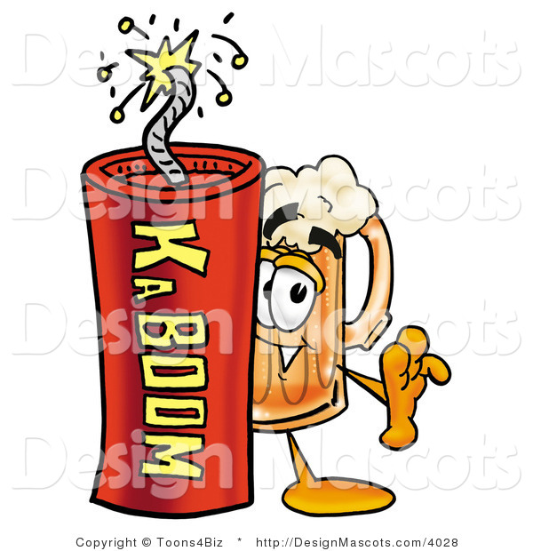 Stock Mascot Cartoon of a Beer Mascot and Dynamite