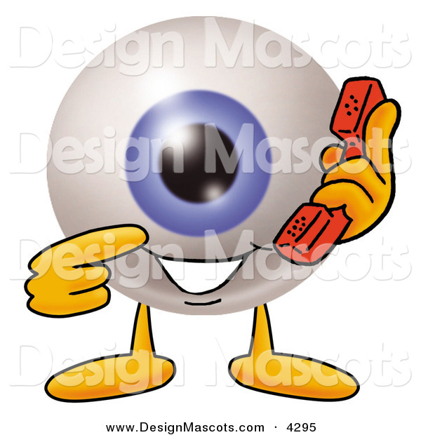Stock Mascot Cartoon of a Blue Eyeball Mascot Cartoon Character Holding a Telephone