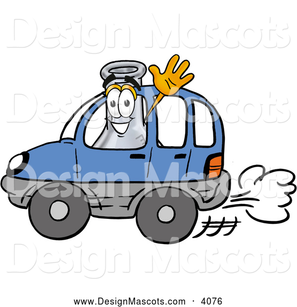 Stock Mascot Cartoon of a Cheerful Erlenmeyer Conical Laboratory Flask Beaker Mascot Cartoon Character Driving a Blue Car and Waving